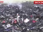 Zábery trosiek zostreleného lietadla na Ukrajine