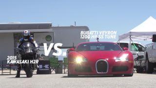 Kawasaki H2R (300 hp) vs. Bugatti Veyron (1200 hp)