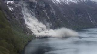 Masívny zosuv skál do fjordu v nórskom Geiranger