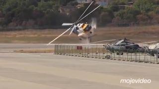 Pád helikoptéry zapríčinil obrovský transparent (Rusko)