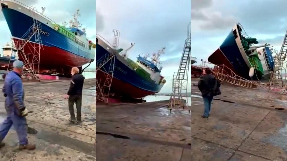 33afd7c19 Spúšťanie 34-metrovej rybárskej lode na vodu (a je zarobené) - Mojevideo